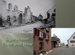 Rue de Bennwihr with Chapelle St. Anne in the back - Then and Now (Photo courtesy Family Roland Laich, Katrin Raabe)