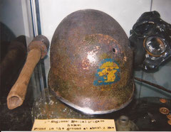 Another interesting helmet found in vicinity of Colleville-sur Mer. It belonged to a member of the 5th Engineer Special Brigade. It was found 1998 around 2 Km from Colleville-sur-Mer.