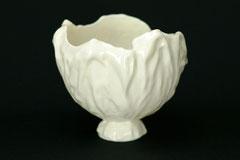 Schale-Unikat, von Hand geformtes Porzellan, H 13 cm