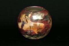 Vase-Unikat, von Hand poliert, Grubenbrand, H 10 cm