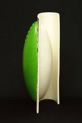 Design Vase-Unikat,  von Hand geformtes Porzellan, farbige Glasur und Drucktechnik, H 41,5 cm, B 20 cm