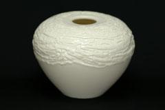 Vase/Öllampe, gegossenes Porzellan von Hand dekoriert, H 14,5 cm