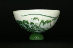 Schale-Unikat, gegossenes Porzellan mit Farbpigmenten, H 8 cm