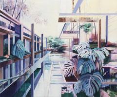 Fensterblatt, Acryl und Öl auf Leinwand, 190x230cm, 2019