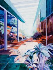 Terrasse, Acryl und Öl auf Leinwand, 100x75cm, 2020