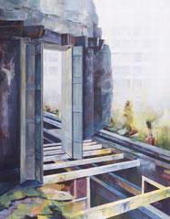 """Tür, aus der Reihe """"Rückblicke-Durchblicke"""", Acryl auf Leinwand, 180x140cm, 2013"""