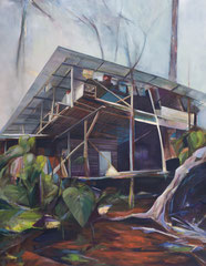 """Stelzenhaus, aus der Reihe """"Santa Domingo"""", Acryl und Öl auf Leinwand, 180x140cm, 2014"""