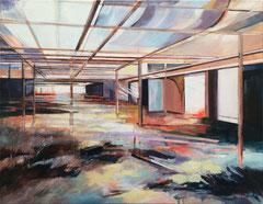 Gewächshaus, Tusche, Acryl und Öl auf Leinwand, 60x78cm, 2018