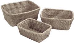 0289W Rattan  Small 22x16x9, 0244W Medium 25x20x10, 0194W Large 28x23x11 Suncream Baskets