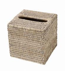 0154W Rattan  Cube Tissue Box 14x14x14