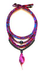 Collier Shantala perles/plume/violet