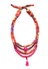 Collier Shantala perles fuchsia/rouille