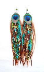 Boucles d'oreilles Gri-gri/paon