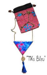 """Sautoir """"Tika"""" bleu"""