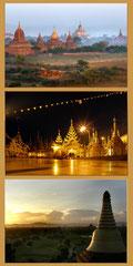 Burma - 3 Fotos auf Leinwand, gemeinsam gerahmt mit Schattefugenrahmen