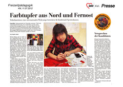 Kieler Nachrichten, 11.07.2012 - Farbtupfer aus Nord und Fernost - Teilnehmerinnen aus internationalen Workcamps bereichern Kinderstadt Sprottenhausen