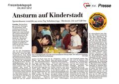 Kieler Nachrichten, 09.07.2012 - Ansturm auf Kinderstadt - Sprottenhausen vermeldet am ersten Tag Aufnahmestopp