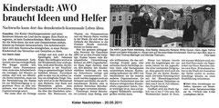 Kieler Nachrichten, 20.05.2011 - Kinderstadt: AWO braucht Ideen und Helfer - Nachwuchs kann dort das demokratisch-kommunale Leben üben