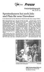 Kieler Nachrichten, 12.07.2011 - Sprottenhausen hat noch Jobs und Platz für neue Einwohner
