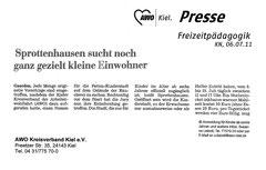 Kieler Nachrichten, 06.07.2011 - Sprottenhausen sucht noch ganz gezielt kleine Einwohner