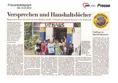 Kieler Nachrichten, 10.07.2012 - Versprechen und Haushaltslöcher - Bürgermeister Brian (11) wurde mit satter Mehrheit gewählt