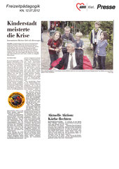 Kieler Nachrichten, 12.07.2012 - Kinderstadt meisterte erste Krise - Innenminister Breitner ließ sich überzeugen