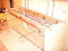 Waschtisch vorher: Rohbau mit Stahlträger