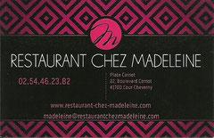 Restaurant Chez Madeleine - 22 Boulevard Carnot - 41700 Cour-Cheverny