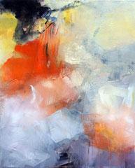 """Pure abstract - Yellow orange"" collage et acrylique sur toile 80 x 60 disponible"