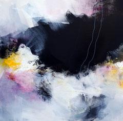"""Trio """"Les balançoires"""" 2 - Acrylique et pigments sur toile 50 x 50 cm épaisseur 3.5. Disponible seule ou avec les parties 1 et 3"""