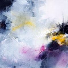"""Trio """"Les Balançoires"""" 1 - Acrylique et pigments sur toile 50 x 50 cm épaisseur 3.5. Disponible seule ou avec les parties 2 et 3"""