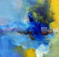 """""""Retour au bleu"""" technique mixte sur toile 50 x 50 cm"""