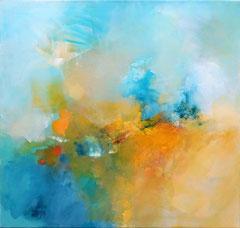 """""""Yellow limbow"""" acrylique sur toile 80 x 80 cm VENDUE"""