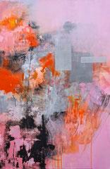"""Pure abstract - Pink""  Collage et acrylique sur toile 100 x 65 disponible"
