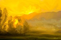 Die Nebelgeister verabschieden sich. Standort: Berggeist, Aussichts- und Panoramastadl Murnauer Moos mit Blick auf das Moos und Heimgarten
