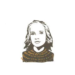 starke Frauen, Laura, Siebdruck, 2021, 10 x 10 cm, Christin_Naumann