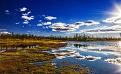 "Bild: lake reflections at the Dalton Highway, Alaska, ""autumn reflections on Dalton""; www.2u-pictureworld.de"