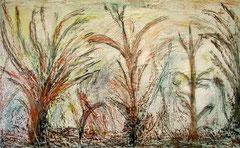 Vegetation, Kreide und Kohle und Acryl und Holz, 80x 130 cm, 400 €