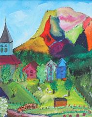 Gebirgshäuser, Acryl auf Leinwand, 40x 50cm, 170 €