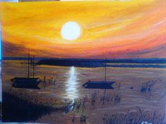 Neusiedler See Sonnenuntergang 90cm x 60cm Acryl auf Leinwand
