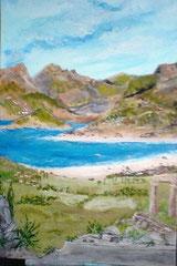 Griechische Landschaft m. Ruinen 50cm x 70cm Acryl