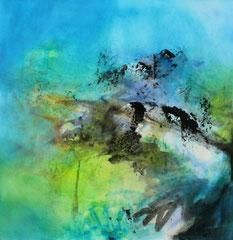 2014  unter´m Himmi  II,   100,4 x 99,4 cm  auf Papier