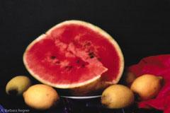 Wassermelone und Zitronen 2009, Lochkamera, Diasec 30 x 40 cm