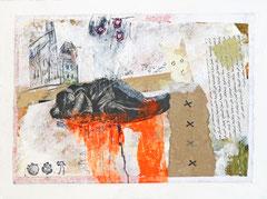 Mischtechnik auf Papier - 18x24x3 cm -  Papier kaschiert auf Malgrund (24 x 18 x 3 cm)- Titel: Mir träumte