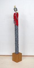 Große Königin-Skulptur aus Pappmache -  montiert auf Sockel aus geölter massiver Eiche - Größe ca. 145 cm  - Titel: königliche Mahlzeit