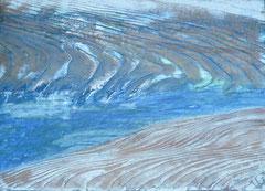 """""""Priellauf im Meer"""" Acryl und Klarlack auf Holz 33x22,5   """"Tidal creek"""" Acrylic on wood in 13x8,9"""