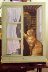 Panneau peint en trompe l'oeil du chat à la fenêtre