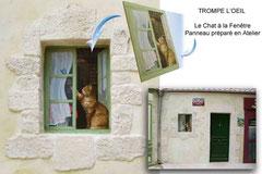 Le Bâtiment de l'Entrée - Festyland - Trompe l'Oeil : Le chat à la fenêtre