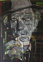 """Keith Richards"" - Kreide/Acryl auf Leinwand, 100 x 70 cm"