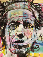 """Keith Richards"" - Mischtechnik auf Leinwand, 30 x 30 cm"